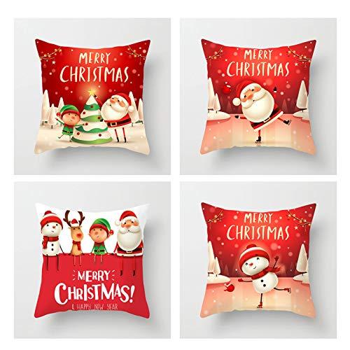 Film Santa Claus Snowman Pillowcase,Set De 4 Navidades Decoraciónaciones,Oculto Cremallera,Amortiguar Cubiertas para Navidad Casa Decoración