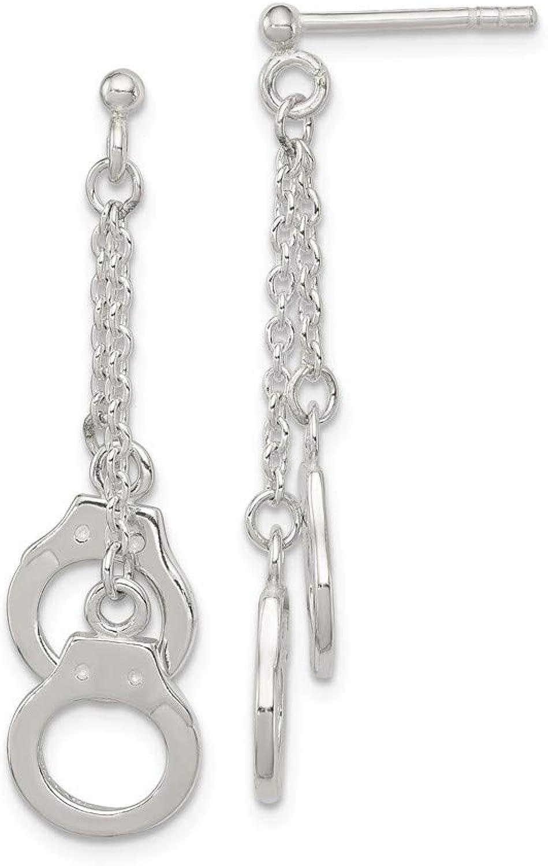 Beautiful Sterling silver 925 sterling Sterling Silver Hand Cuff Dangle Post Earrings