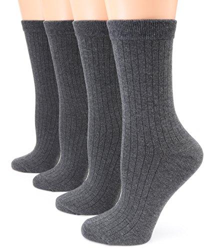 MIRMARU 4 Pares sólido casual ligero de algodón suave calcetines para las mujeres gris oscuro, tamaño medio/shoe: 6-9