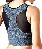 Sujetador deportivo de impacto medio para mujer, para entrenamiento, cuello alto, yoga, gimnasio, etc - gris - XXL