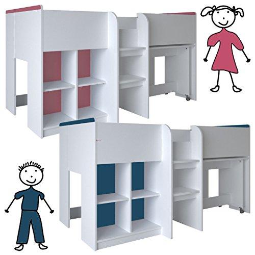 *habeig Kinderbett HOCHBETT weiß rosa/blau Schreibtisch Regal Treppe KOMBIBETT 90x190cm*