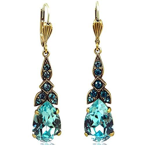Jugendstil Ohrringe mit Kristallen von Swarovski® Gold Türkis NOBEL SCHMUCK