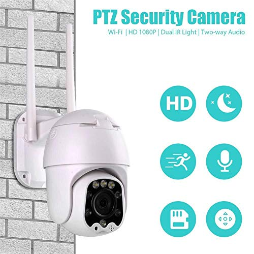 Outdoor Camera, 4x zoom 1080P, dubbele antenne Dual Light Source, infrarood Night Vision 20m Outdoor waterdichte camera Night Vision, Smart Motion Detection en Meer Beveiligingscamera,dljyy