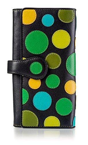 Visconti ® Portafoglio Donna Vera Pelle con Protezione RFID Porta Carte di Credito con Portamonete Borsellino Portafogli Porta Banconote Polka : (Lily Pad Toni del Verde/Blu)