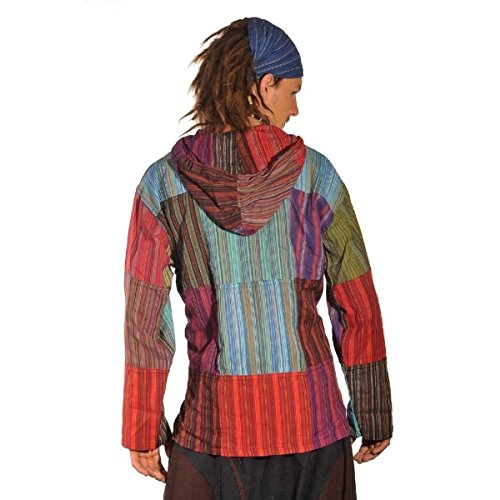 Patchwork Kapuze Hemd Pullover Shirt Fischerhemd Freizeithemd Freizeitshirt Hippie Goa PSY Kurta (XXL)