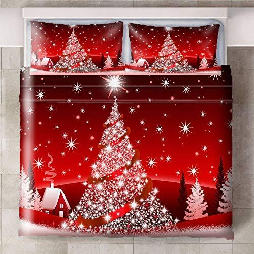 CQIIKJ Copripiumino 260x220cmAlbero di Natale Creativo Bianco Rosso Copri Piumino in Microfibra Copripiumino Traspirante Copripiumino Morbido e Confortevole con Cerniera