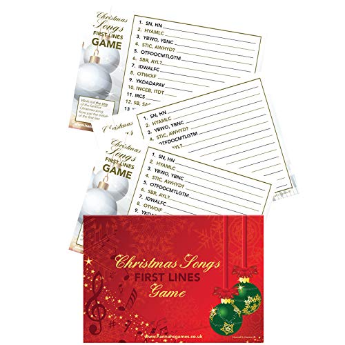 Christmas Songs First Letters Game - 10 Postcard Size First Lines Christmas Quiz Cards - Christmas Games for Adult Christmas Stocking or Xmas Eve Box Fillers for Adult & families After Dinner Trivia