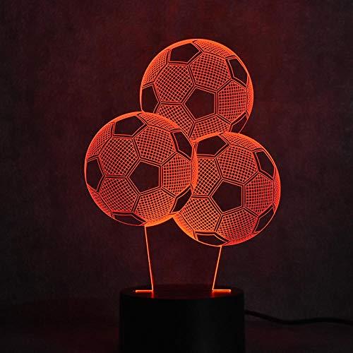 Luces de ilusión 3D LED 3D, luz visual colorida, lámpara de mesa USB creativa para dormir, lámpara de fútbol para niños, decoración de habitación