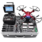 Potensic Drone with HD Camera, F181DH RC Drone Quadcopter RTF Altitude Hold UFO with Stepless-Speed Function, 2MP Camera& 5.8Ghz FPV LCD Screen Monitor & Drone Carrying Case - Red