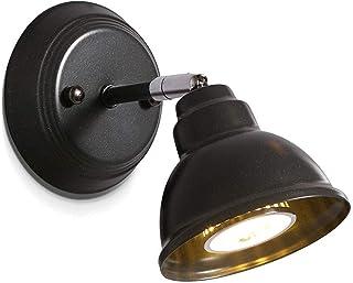LLLKKK Applique murale vintage noire Dome Industrial Accessoire Lampe avec support de lampe réglable Utilisation GU10 Rétr...