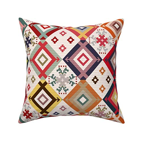 Yuanmeiju Square Cushion Cover,Kilim Rug Textured,45x45cm Cotton Sofa Throw Pillowcase Set Home Decoration for Bedroom, Living Room, Couch, Car