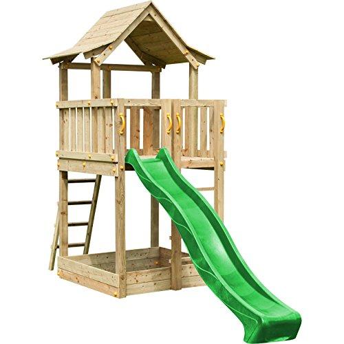 Blue Rabbit 2.0 Spielturm PAGODA mit Rutsche 2,90 m großes Podest 1,60 x 1,40 m Kletterturm Holzturm Spielplatz Kiefer imprägniert (Grün)