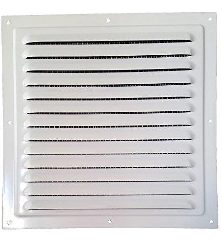 30x30cm METAL LÜFTUNGSGITTER mit INSEKTENNETZ Ventilation Gitter Abluft / Zuluft Entlüftung Belüftung (300x300mm, Weiß)