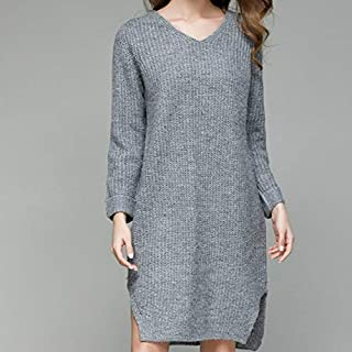 LUZAISHENG Solid Color Loose Long V-Neck Knit Dress, Size: One Size(Gray) 2020 Fashion (Color : Gray, Size : One Size)