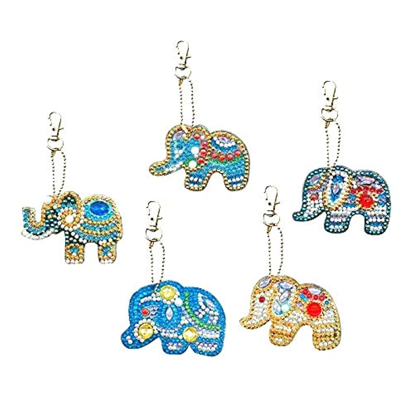 HuaCan 5 Pack DIY 5D Diamond Painting Elephant Keychain Round Drill Keyring Crystal Rhinestone Bag Pendant Cross Stitch Mosaic Arts Craft Paint by Number Kits for Kids Adults