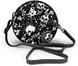 BAODANLA Bolso redondo mujer Round Crossbody Bag Punk Skull Crossbody Wallet PU Leather Zipper Shoulder Bag Sling Bag
