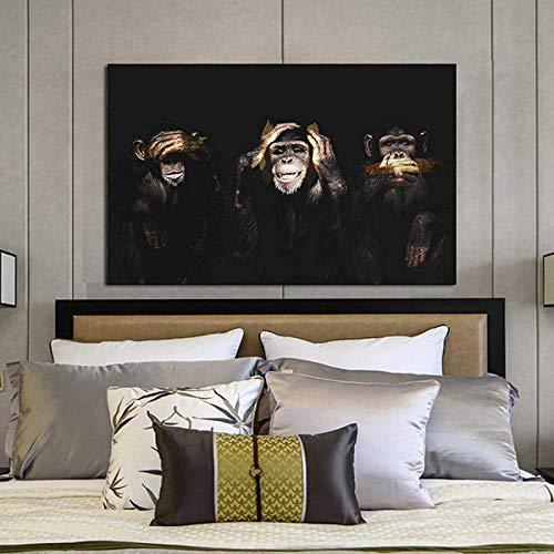 Impression murale 60x80cm sans cadre Dark Wise 3 singe gorille photo art peinture affiches et impressions d'animaux salon chambre d'enfant décoration murale art