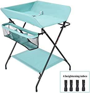 QNJM Baby Changing Table Folding Diaper Station  Toddler Dresser Station With Safety Straps  Suitable For Families And Travel  Color Green