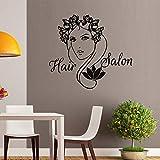 ASFGA Abstract Salon Hair Salon Logo Vinilo Adhesivo de Pared Damas y Flores Adhesivos de Pared Salón de Belleza Manicura Nail Glass Sticker 128x116cm