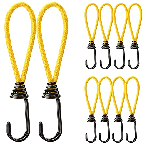 WishDirect Bungee Cord with Hooks 10 Pcs 6 Inch Heavy Duty Rubber Elastic Straps Rope for Tarps, Tents, Wire Racks, Camping Trucks Boats - Yellow