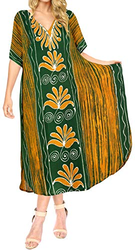 LA LEELA Damen Baumwolle überdimensional Maxi Batik Kimono Kaftan Tunika Kaftan Damen Top Freie Größe Loungewear Urlaub Nachtwäsche Strand jeden Tag Kleider Grün_A912