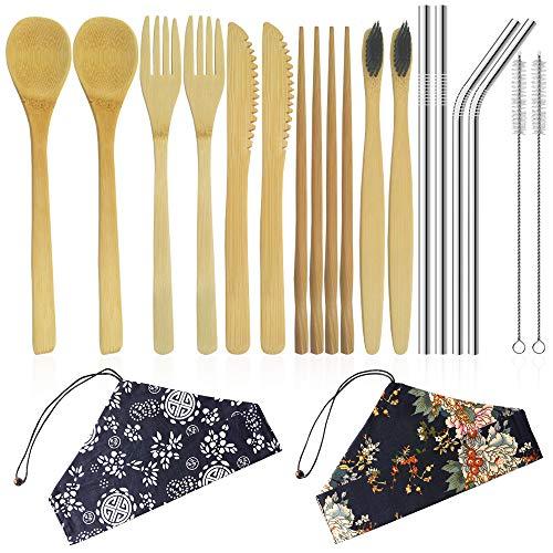 2er-Set Bambusbesteck, YuCool Bambusbesteck, wiederverwendbares, tragbares Reiseset Mit Messer, Gabel, Löffel, Stäbchen und Bambusbürste mit Edelstahlstrohhalmen, Bürste und Tragetasche