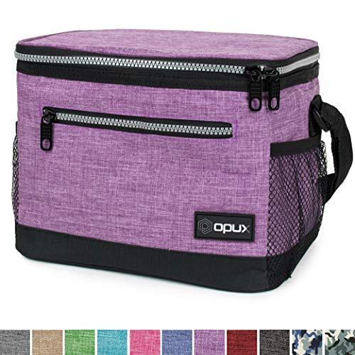 OPUX Premium Insulated Lunch Bag with Shoulder Strap | Lunch Box for Adult Women, Teen Girls | Soft Leak Proof Liner | Medium Lunch Cooler for Office, School | Fits 6 Cans (Heather Purple)