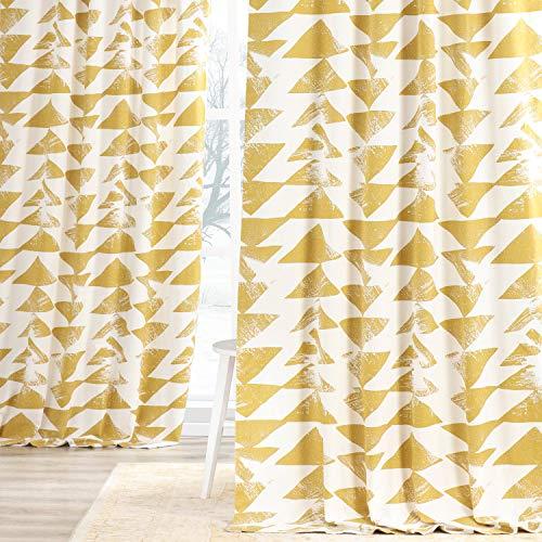 HPD Half Price Drapes PRTW-D35-96 Printed Cotton Twill Curtain (1 Panel), 50 X 96, Gold
