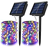 HBOY Solar Trampolin Lichter 2 Pack 100 LED Outdoor Wasserdicht 8 Modi Twinkle Wire, für Park Party Solar String Lights Dekoration