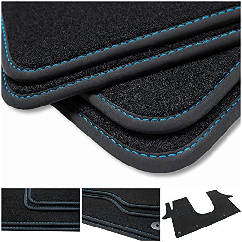 teileplus24 BV562 Alfombrillas Velours para VW T5, T6, T6.1 2003- Protección Alfombra Ductor, Costura:Azul