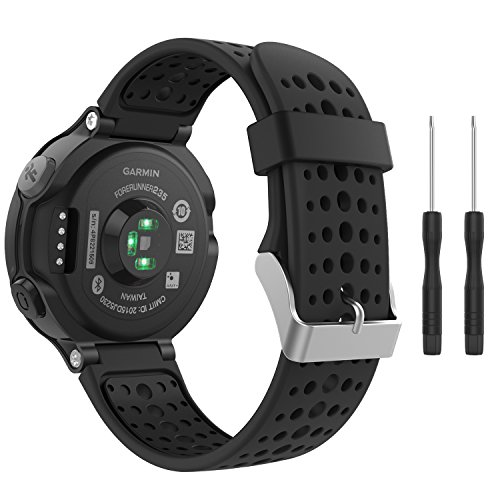 MoKo Watch Band Compatible with Garmin Forerunner 235, Soft Silicone Replacement Watch Band fit Garmin Forerunner 235/235 Lite/220/230/620/630/735XT/Approach S20/S6/S5 - Black & Black