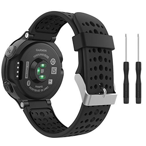MoKo Armband für Garmin Forerunner 235/220 / 230/620 / 630/735 - Silikon Ersatz-Uhrenarmband Uhrenarmband Einstellbar Armband Replacement Wechselarmband, Schwarz/Schwarz
