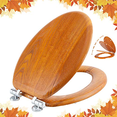 Elongated Toilet Seat Natural Wooden Toilet Seat with Quietly Close, Quick Release Hinges American Standard, Easy Install, Easy Clean by Angel Shield (Elongated, Wooden)