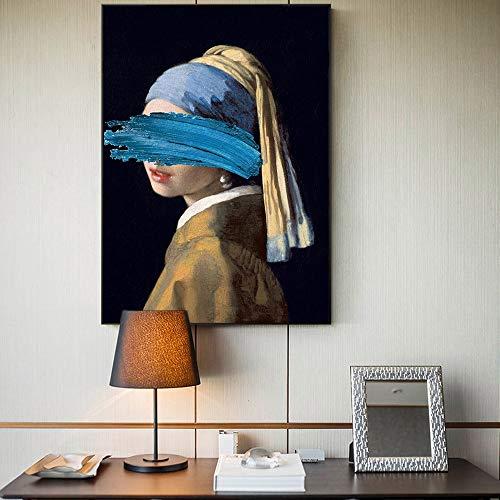 Las Pinturas Chica con un Pendiente de la Perla de Lona Reproducciones Obras de Arte Famosas por Jon Pop Art Prints Cuadros de la Pared for la decoración casera (Size (Inch) : 40x50cm no Frame)