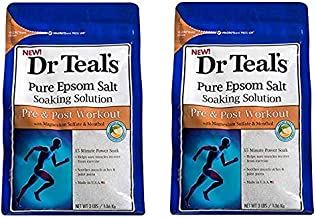 Dr Teal's Epsom Salt Soaking Solution, Pre & Post Workout, 3lbs Pack of 2