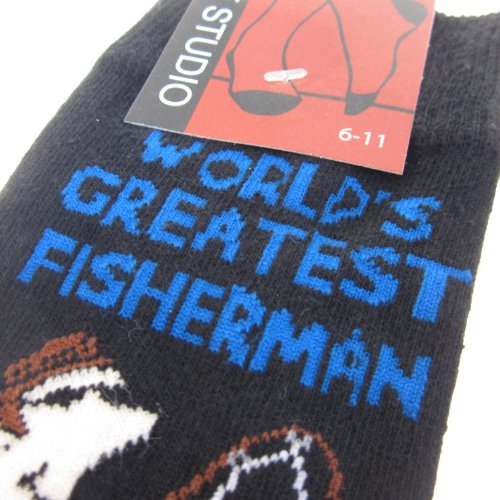 The Tie Studio - Worlds Greatest Fisherman Navy Blue Novelty Socks (size 6-11) by The Tie Studio