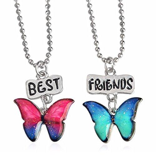SiAura Material - 1 juego de collares de la amistad con mariposas, rojo y azul, longitud 44 cm, 2 unidades.