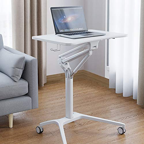 Tepo-C table Pneumatic Adjustable Height Laptop Desk, Sit Stand Mobile Folding Laptop Cart, Home Office Workstation, for Classrooms, Offices, and Home,White