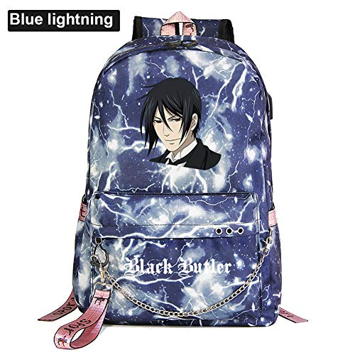Black Butler Anime Sternenhimmel Lightning Plaid Print Rucksack Daypack Laptop Tasche Schulranzen