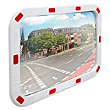 ECD Germany Specchio Stradale Convesso Rettangolare - 40 x 60 cm - in Plastica ABS - Bianco Rosso - Specchietto di Segnalazione Traffico con Riflettori Parabolico Cornice Riflettente Sicurezza Negozio