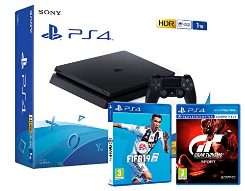 PS4 Slim 1To Console Playstation 4 Noir + FIFA 19 + GT Sport (Gran Turismo Sport)