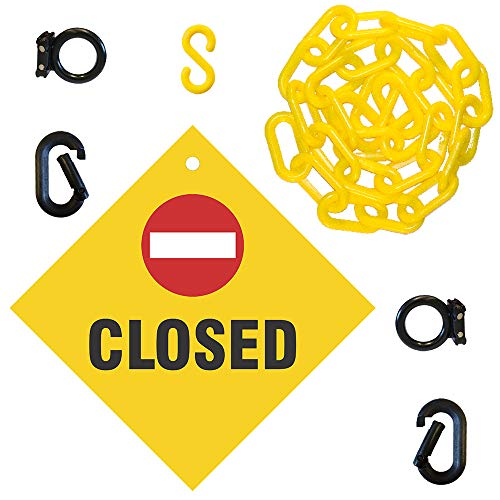 Mr. Chain Closed Sign Kit, Sign and 6-feet Yellow 2-Inch Chain (7406CL)