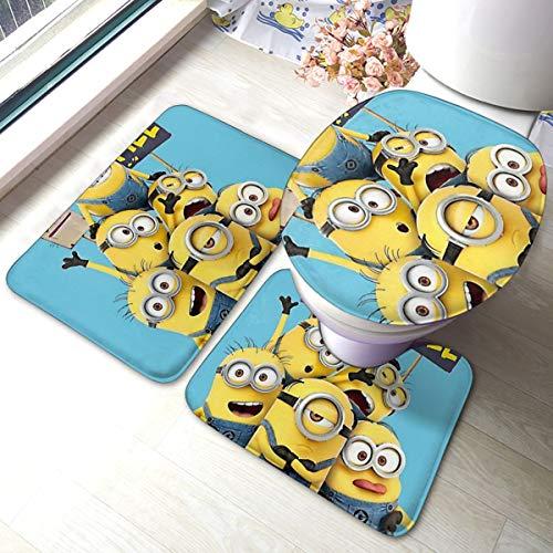 ALBXSWRR Cartoon Cute Minions Badvorleger, 3-teiliges Set, weich, rutschfeste Pads, Badematte + Kontur Pads + WC-Deckelbezug, saugfähiger Teppich und Anti-Rutsch-Pads Set