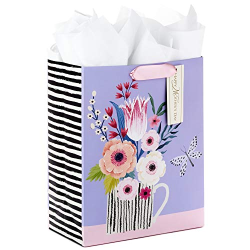 Hallmark 13 Large Mothers Day Gift Bag with Tissue Paper (Purple, Black and White Stripes, Butterfly Bouquet)