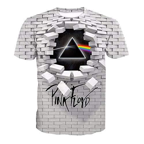 XXW Unisex T-Shirt Pink Floyd 3D Printed Frühling Sommer Kurzarm-Shirt Für Männer, Fraue