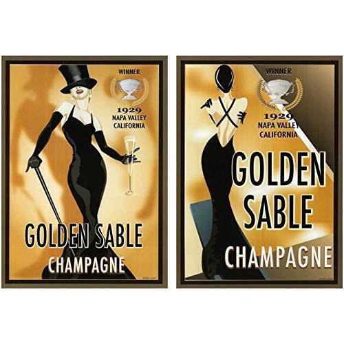 CNHNWJ vintage mode kunst schoonheid meisjes poster en prints gouden champagne wijn mok canvas schilderij voor keuken kamer muurkunst schilderijen (50x70 cm x 2 / geen lijst)