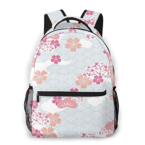 Lawenp School Backpacks Squama Pattern with Cherry Blossom Land of The Rising Sun Pattern for Teen Girls&Boys 16 Inch Student Bookbags Laptop Casual Rucksack