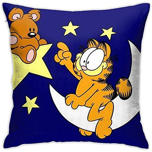 Snbin Fundas de cojín Garfield Sentado en la Luna Funda Cuadrada Decorativa para Cojines para sofá Sofá Juego de Almohadas