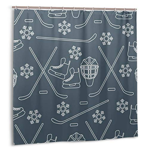 kThrones Duschvorhang,Nahtloses Muster mit Schlittschuhen,Torwart,Hockeyschläger,Eishockey,Wasserdicht Bad Vorhang mit Haken 150cmx180cm