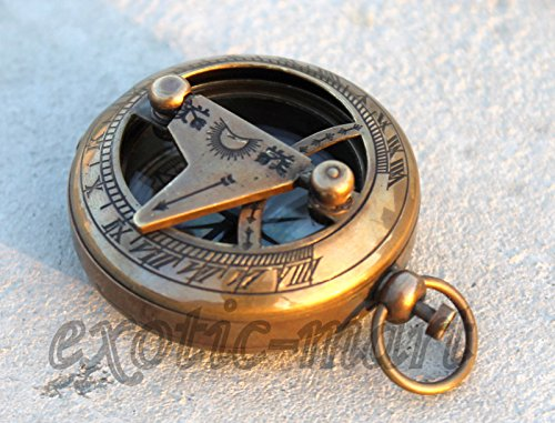 Samara Nautical Vintage Maritime Messing Druckknopf Kompass Sammlerstück Taschen-Sonnenuhr Kompass 5,1 cm